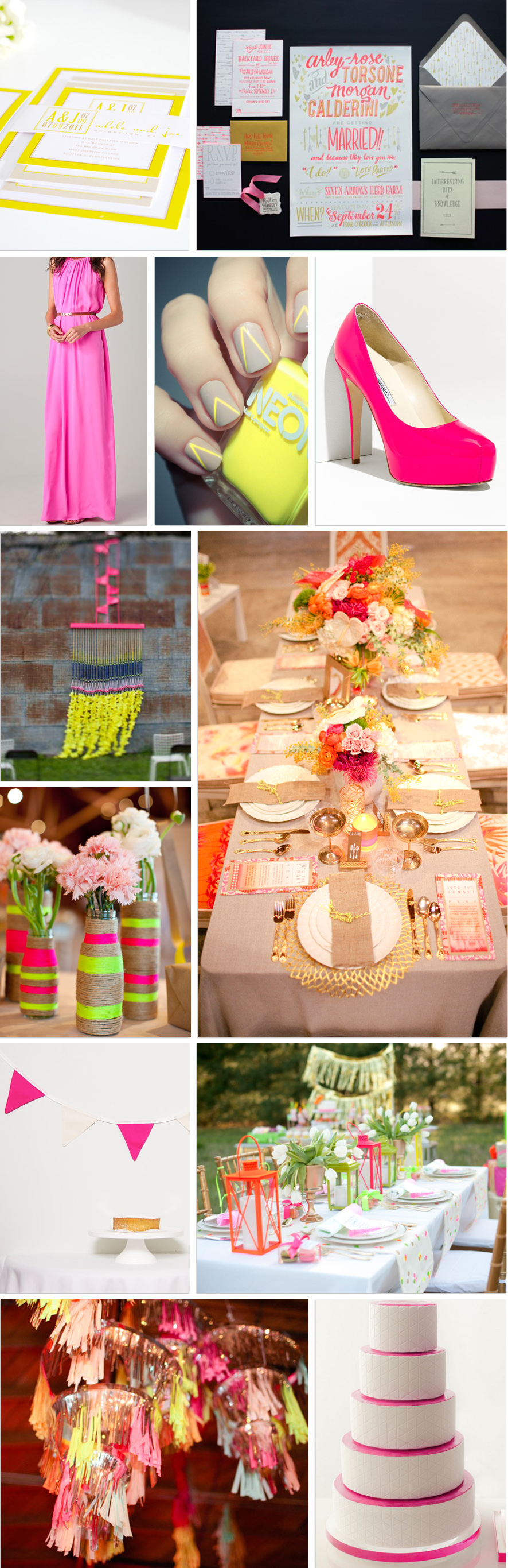 neon invite wedding bridesmaid dress nails shoes ceremony backdrop tablescape twine bunting lanterns fringe chandeliers cake