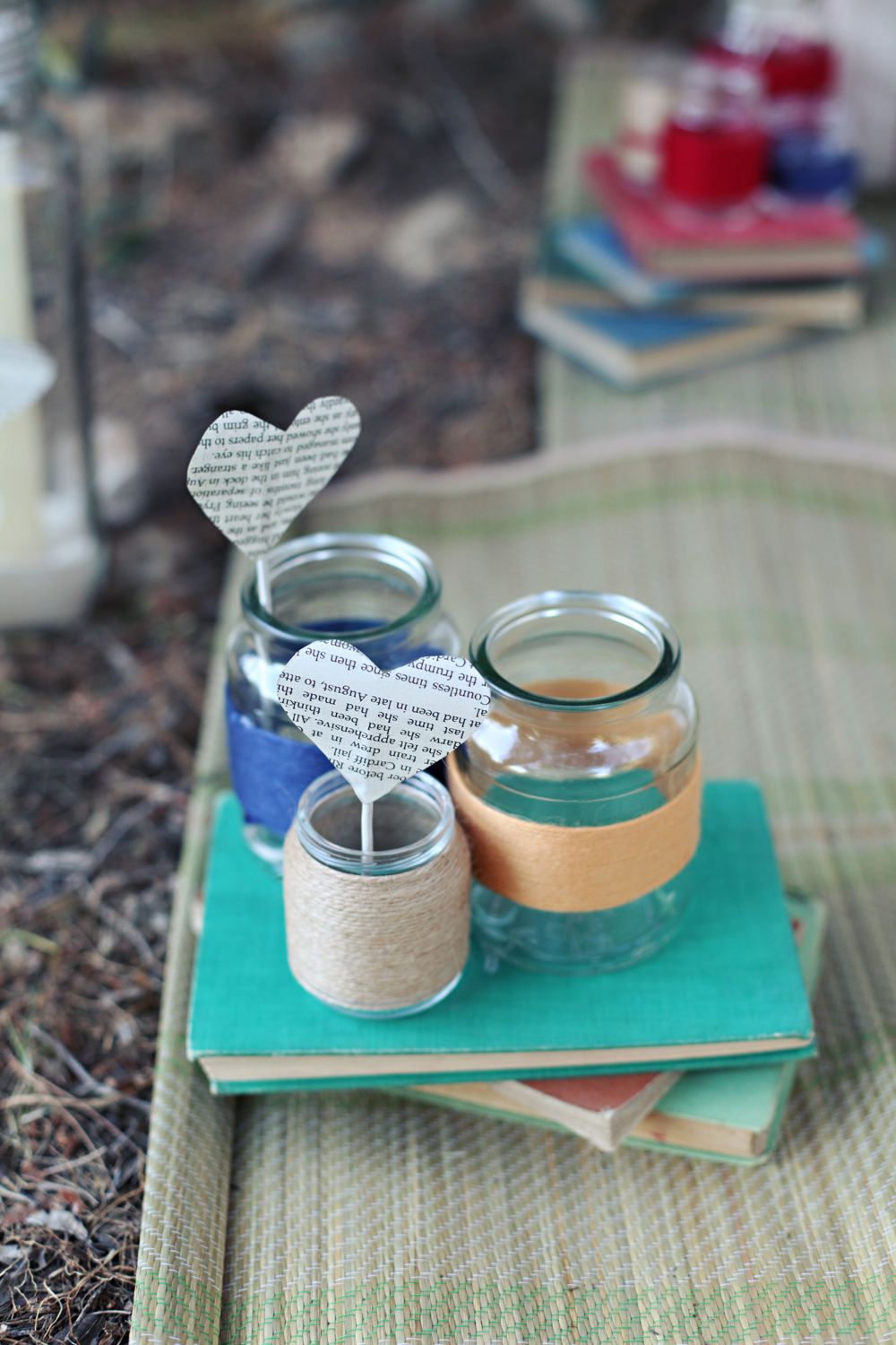 paper hearts yarn twine wrapped mason jars vintage books