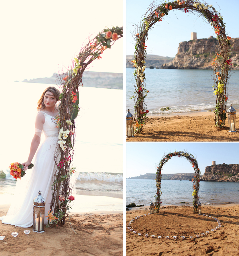 destination wedding malta, golden bay, lanterns, orange, succulents, beach wedding ceremony arch