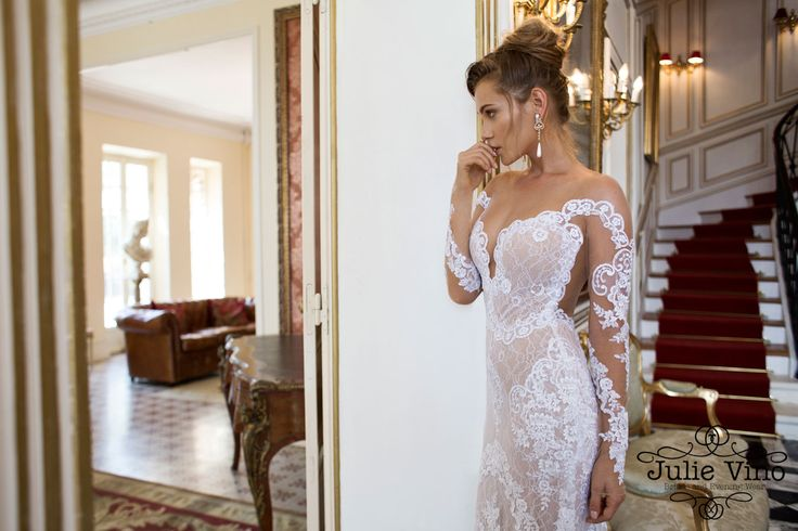 Julie Vino Amber wedding dress lace plunging neckline illusion sleeves