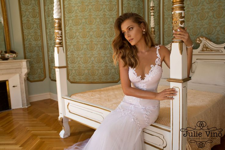 Julio Vino Lindsay wedding dress lace plunging neckline